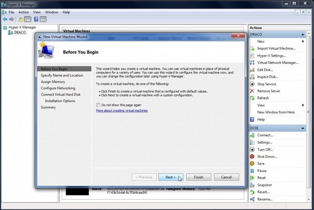 Opprettelse av ny virtuell maskin i Hyper-V Manager steg 2
