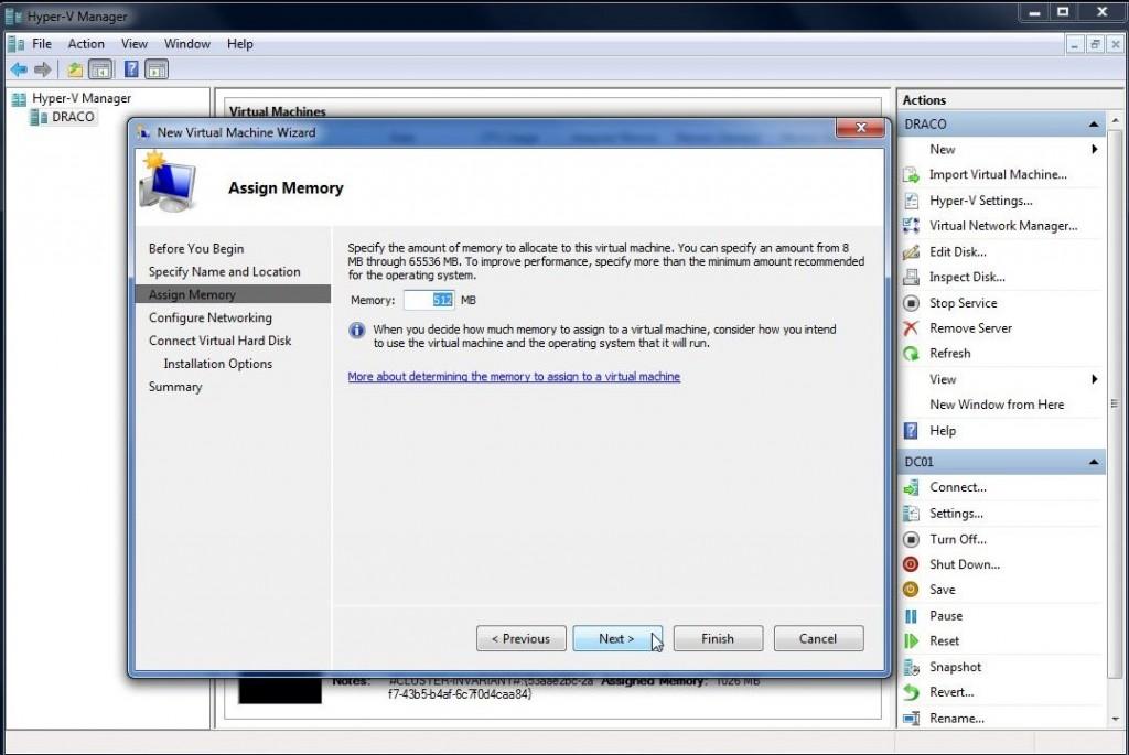 Opprettelse av ny virtuell maskin i Hyper-V Manager steg 4